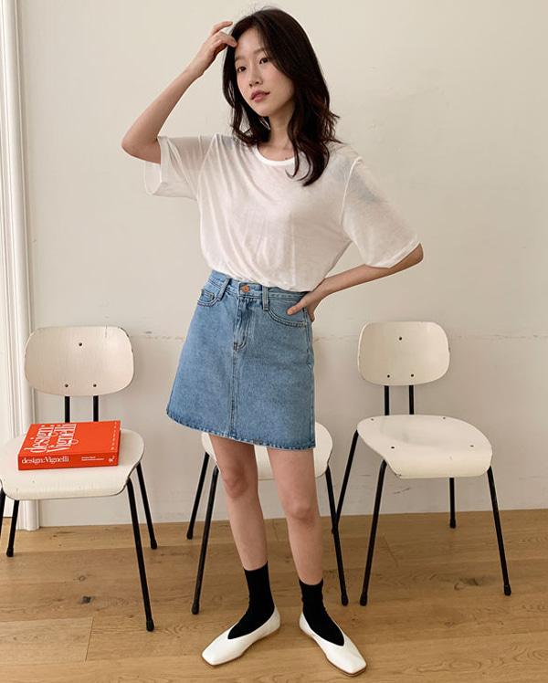 four denim mini skirts (s, m, l)