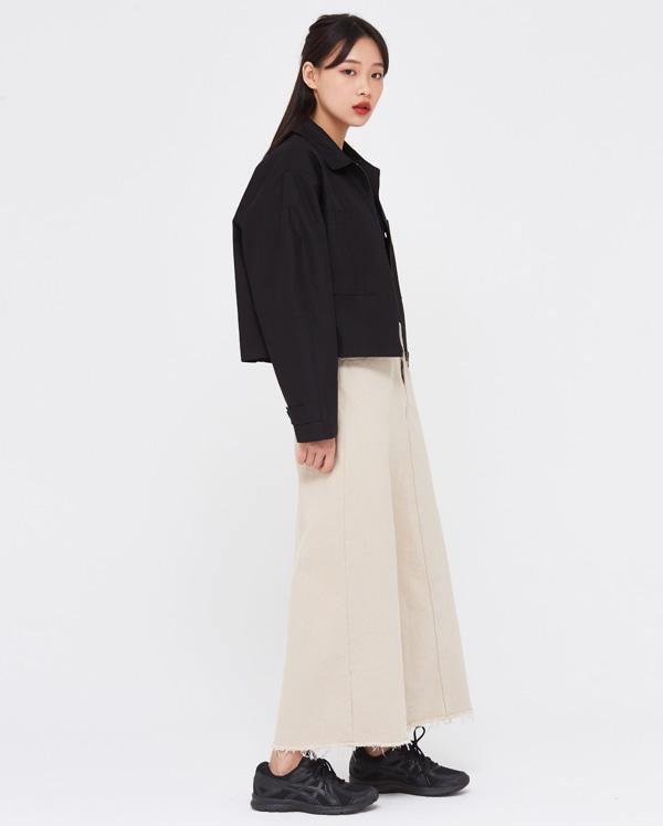 end short zipper cotton jumper