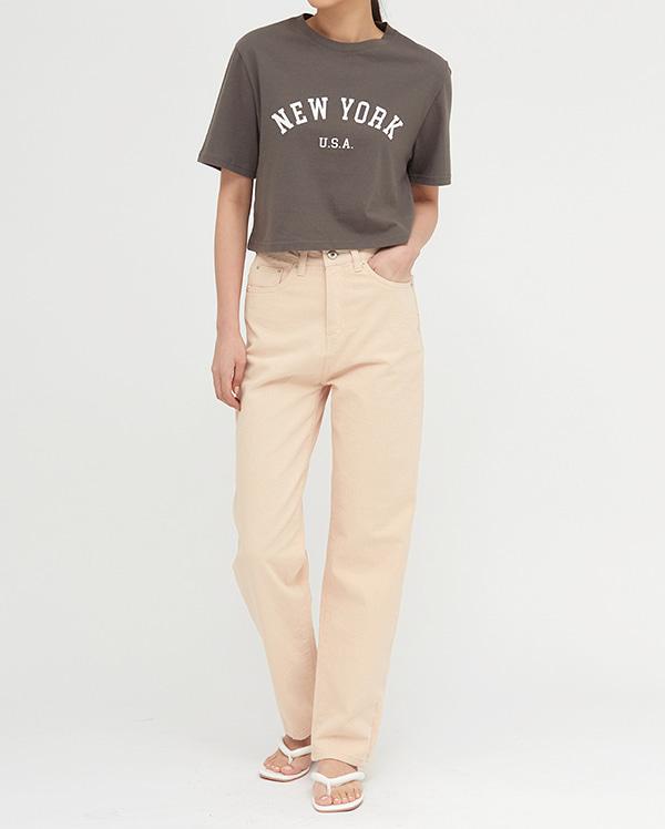 peach straight cotton pants