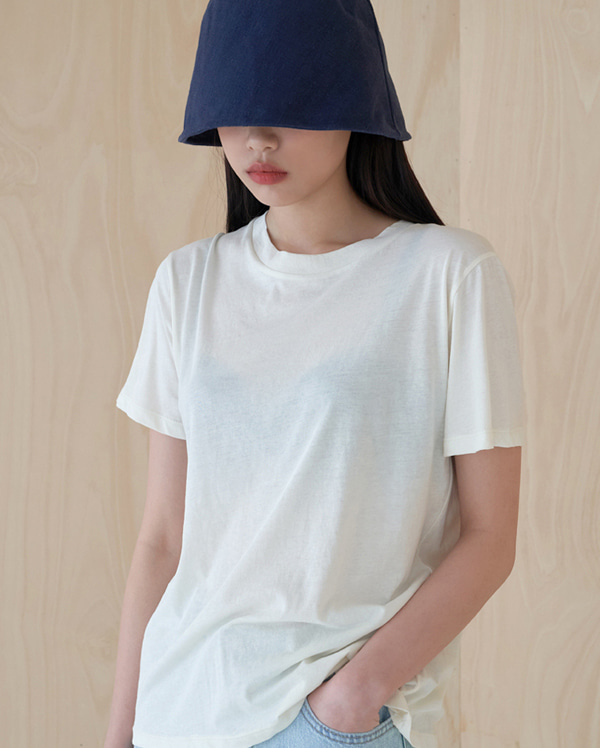 linen round bucket hat