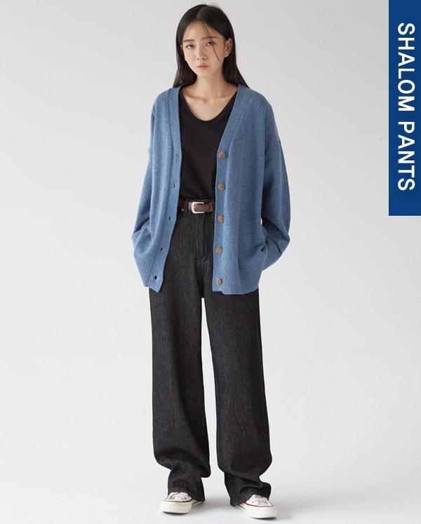 206_stitch black denim pants (s, m, l)