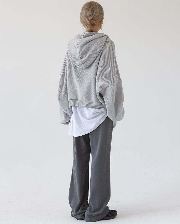 warm hood knit zip-up