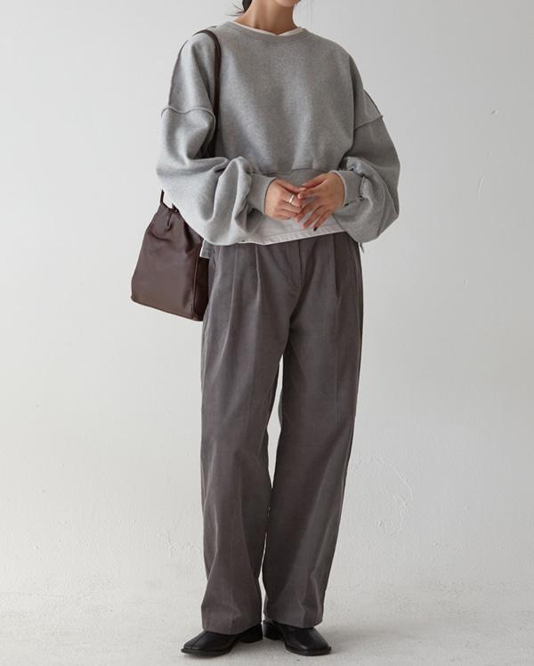 corduroy long wide pants