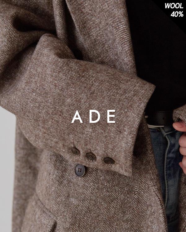 herringbone wool double long coat