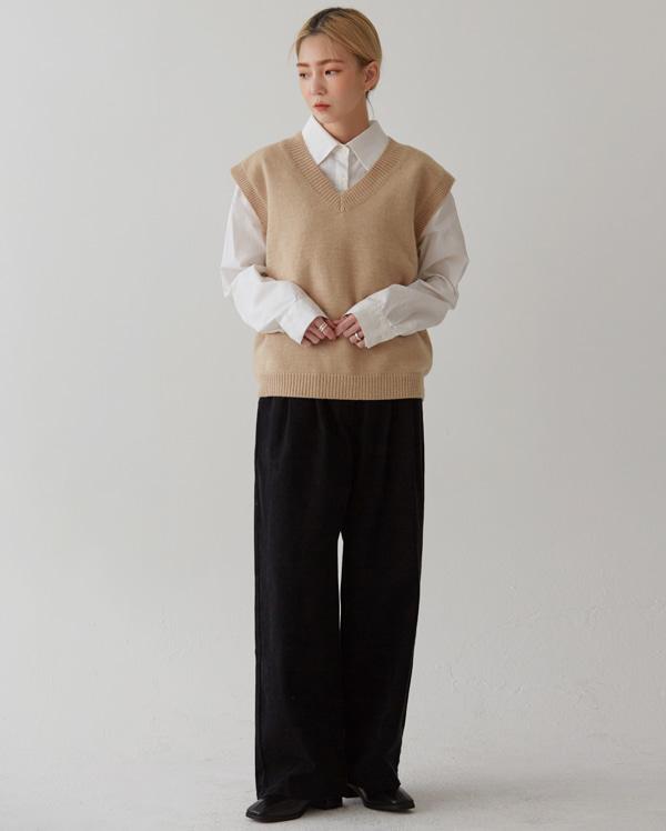 natural v-neck knit vest