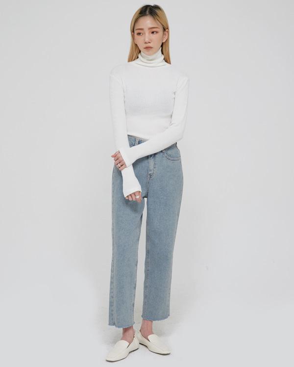 cut napping denim pants (s, m, l)