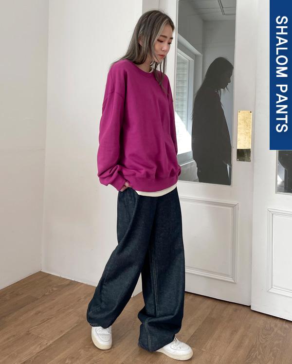 raw wide denim pants (s, m, l)