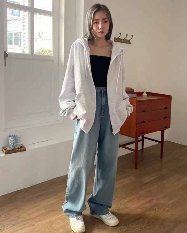 boy jin wide denim pants (s, m, l)