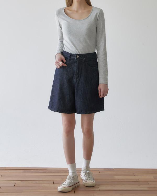 see denim half pants (s, m)
