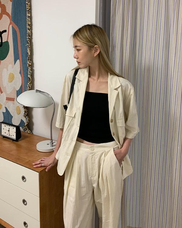 유엘 세미 반팔 셔츠 (2color)