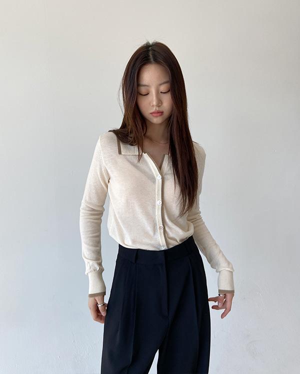 라인 카라 가디건 (5color)