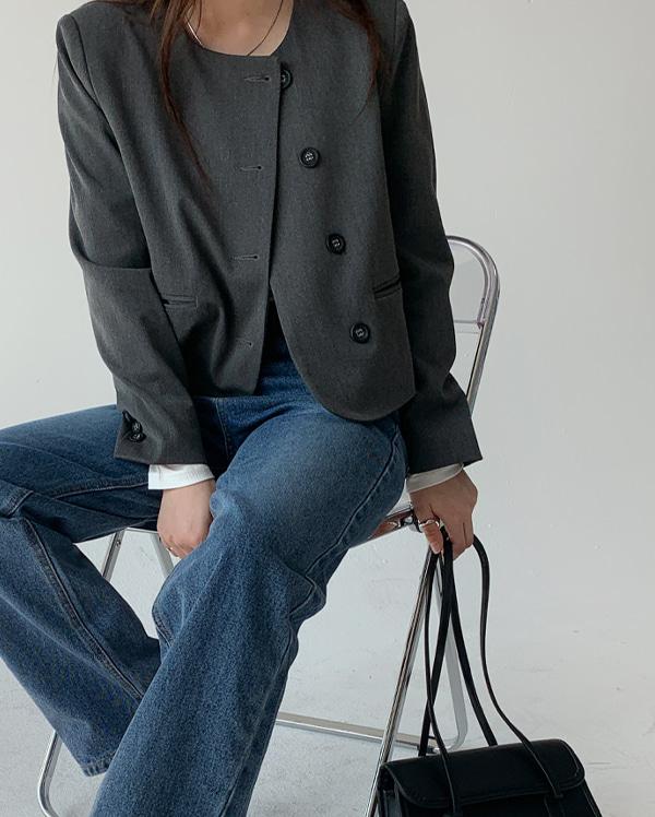 라운드 노카라 자켓 (2color)
