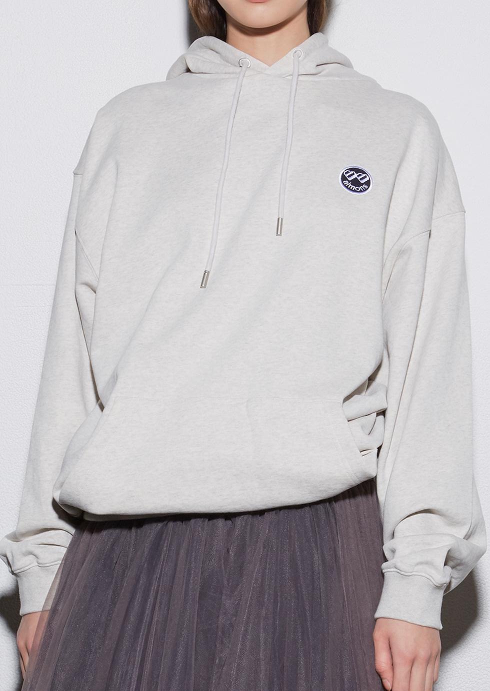 Melange gray embroidery wappen hoodie - 에몽 공식스토어  aimons