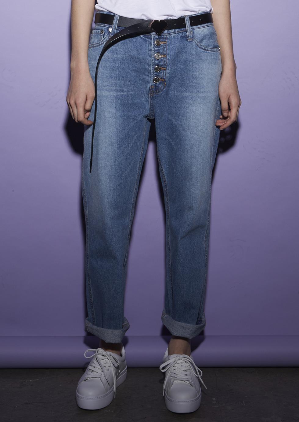 Blue Button down Straight-leg Jeans - 에몽 공식스토어  aimons