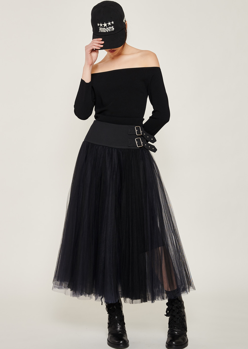 Black Mesh Pleats Sha Skirt - 에몽 공식스토어  aimons