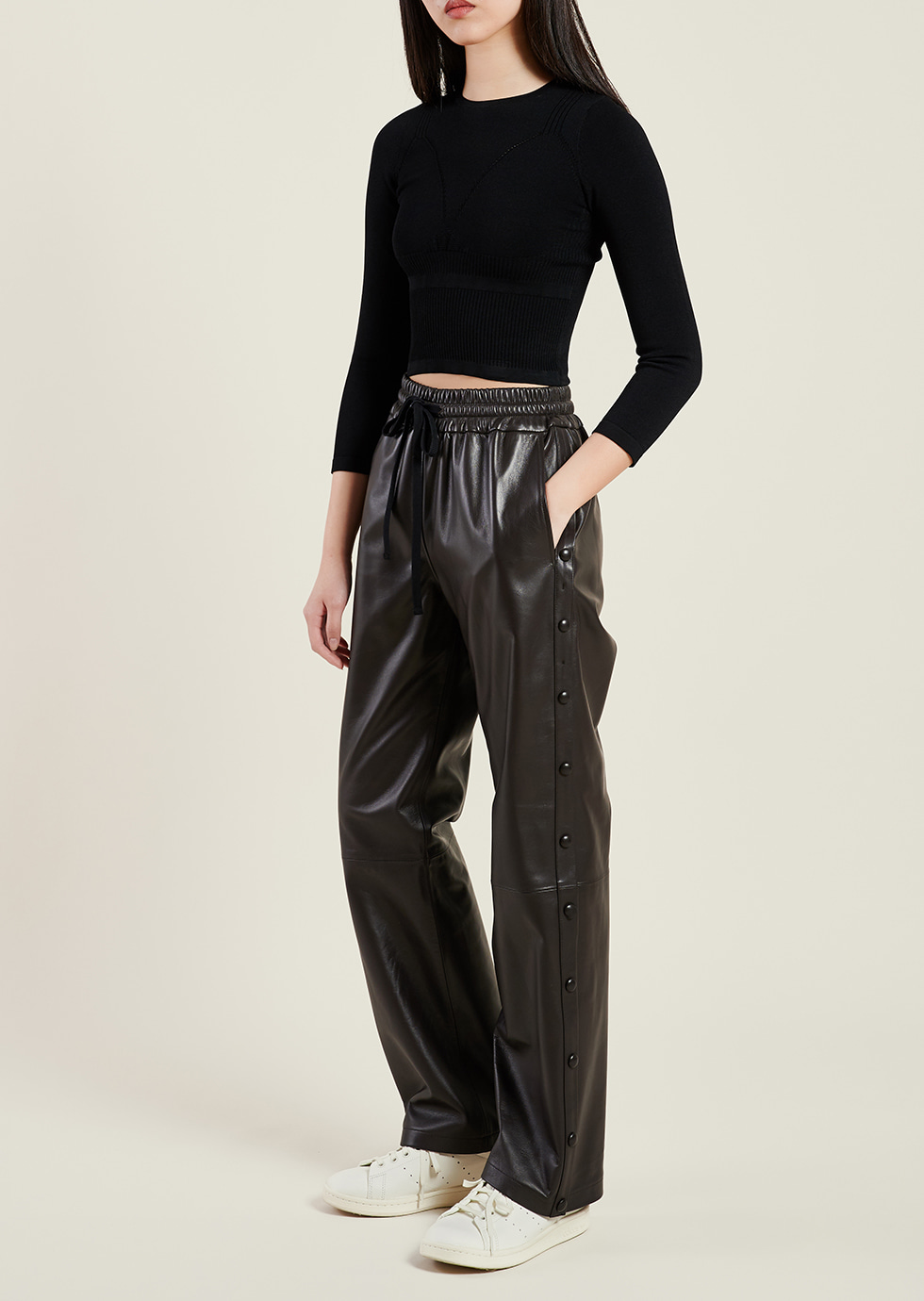 BROWN LEATHER BENDED SIDE BUTTON PANTS - 에몽 공식스토어  aimons