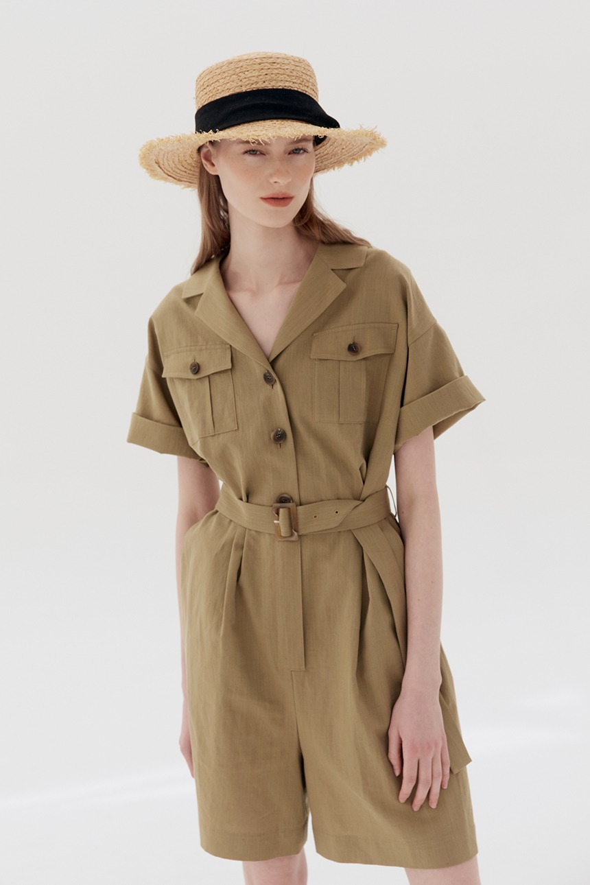 [김나영착용]SINYANG Short sleeve safari jumpsuit (Olive)