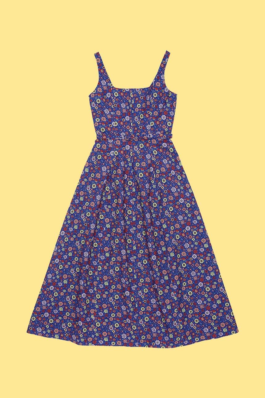 TTARABI U-neck tube top dress (Blue flower)