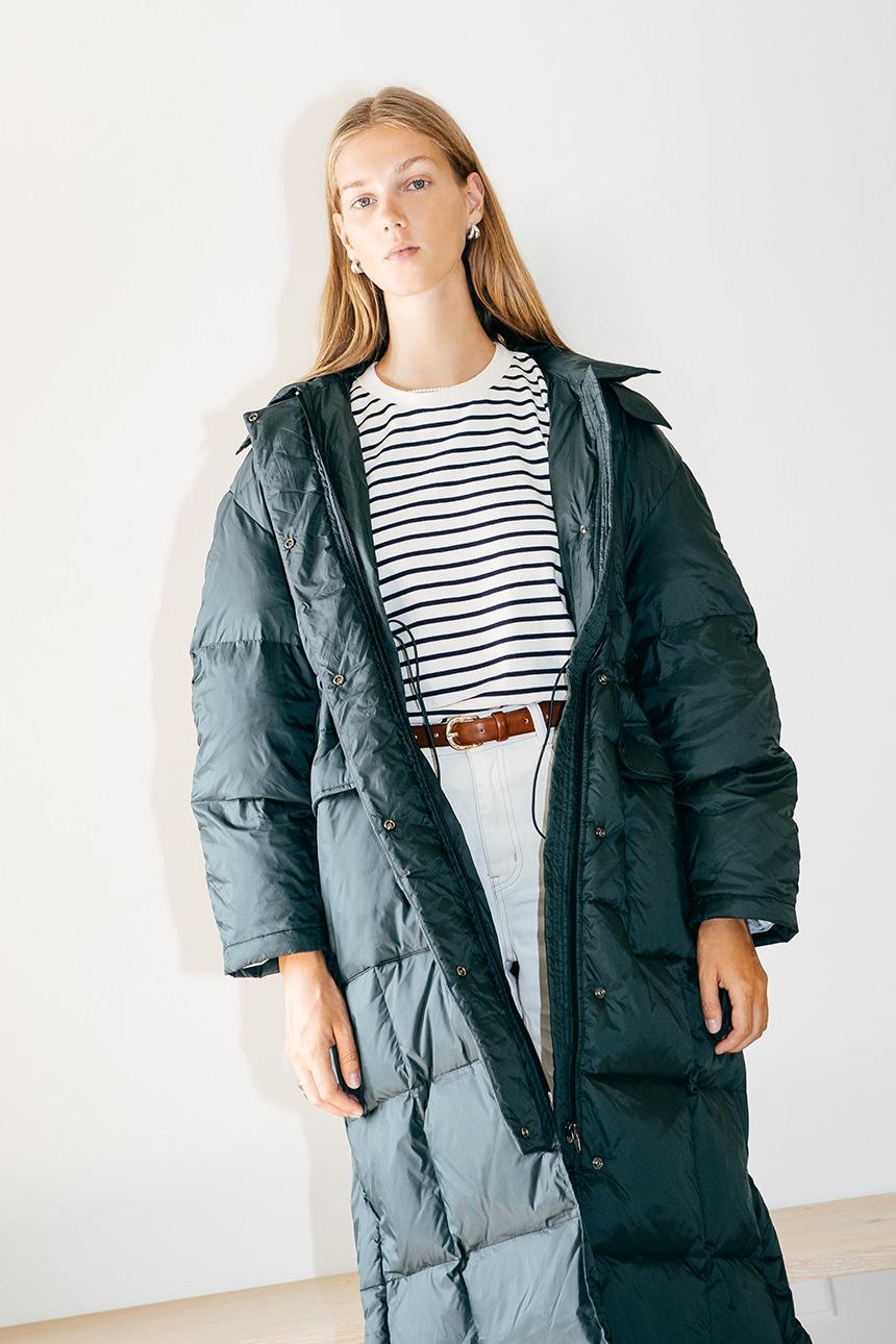 [11/9 예약배송]UNDINE Goose down puffer long coat (Dark green)
