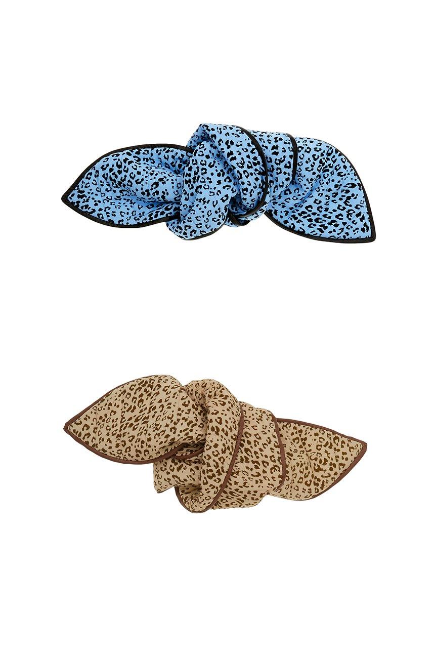 TTUKSEOM quilted muffler (Leopard blue/Leopard brown)