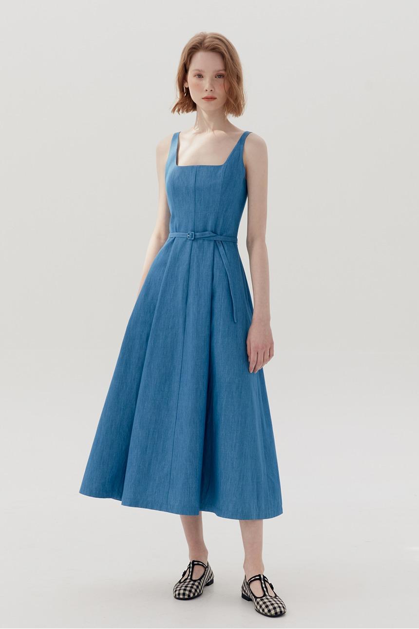 [시즌오프 사은품증정][김나영착용]TTARABI U necktube top dress (Denim)