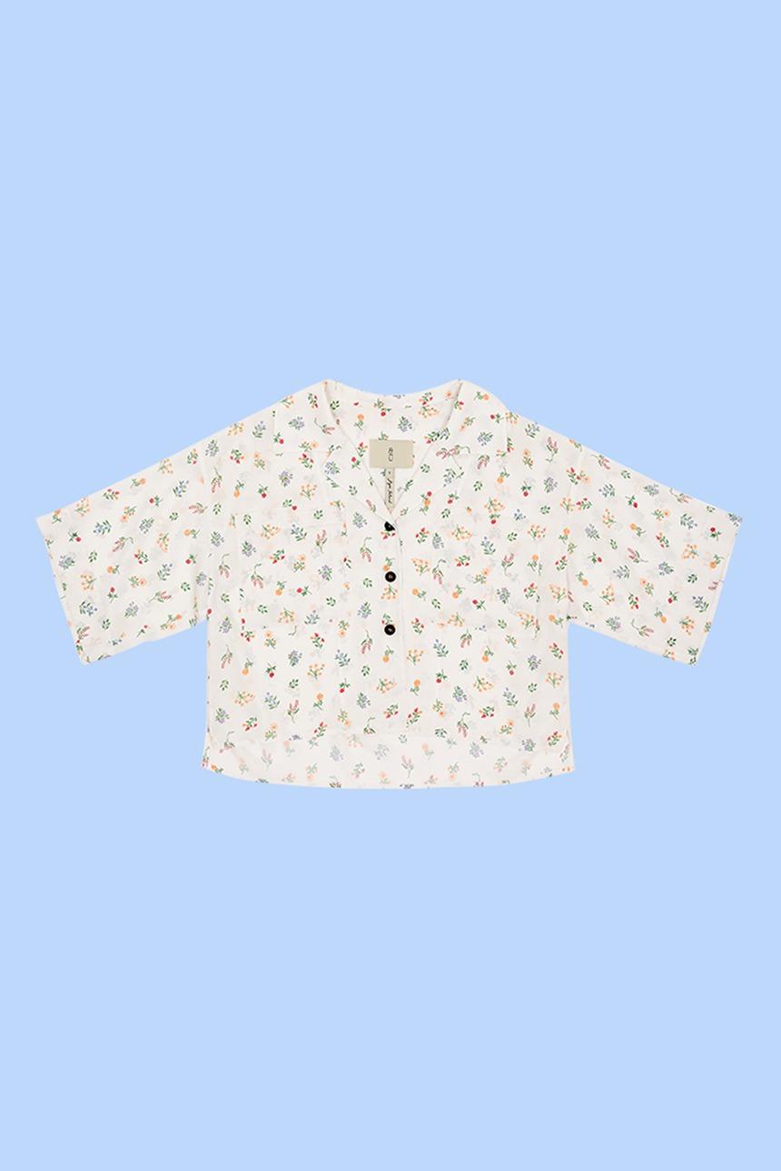 [정은채착용]PYEONGDAE Cropped oversized shirt (White flower)