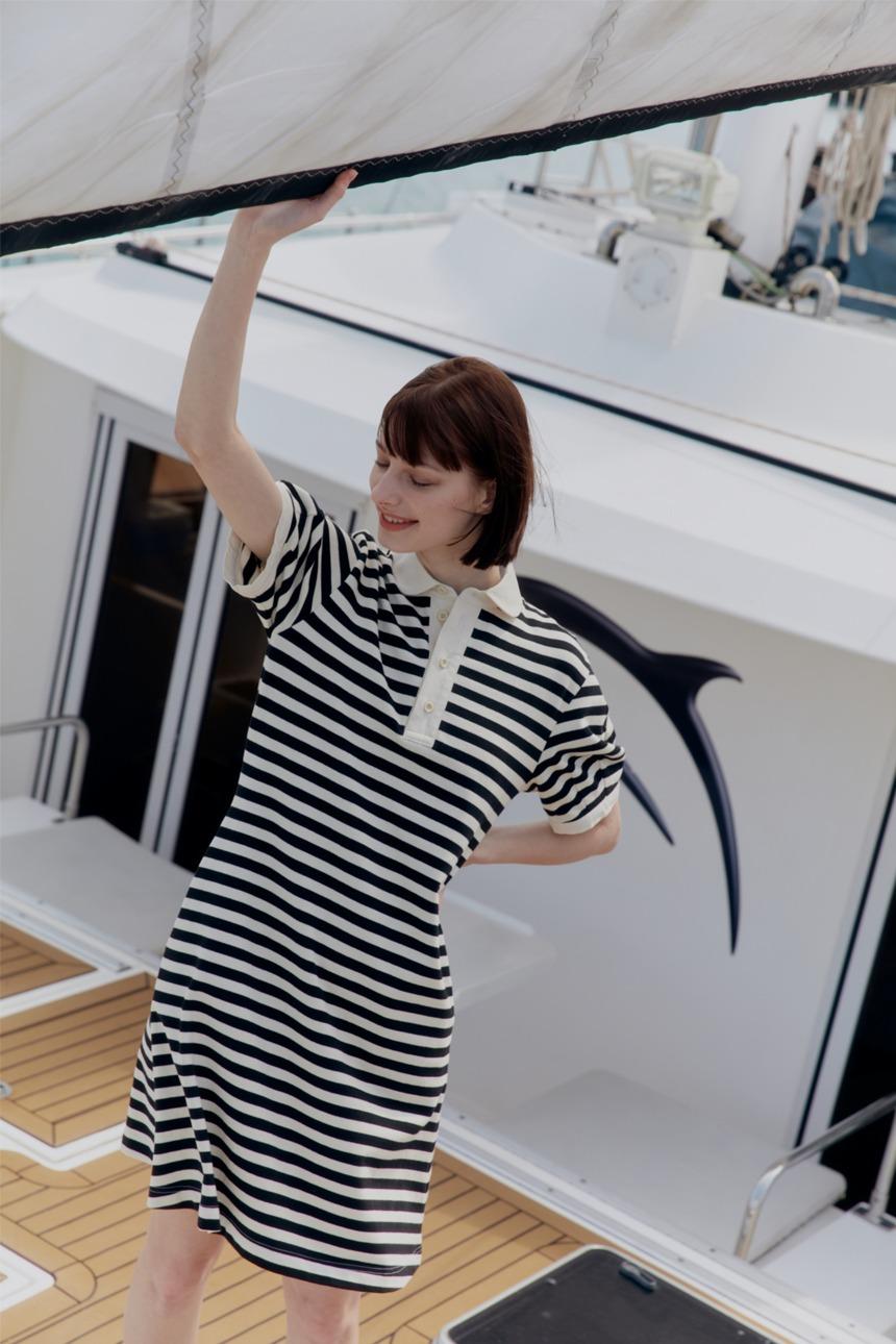WIMIRI Collar short dress (Black stripe)