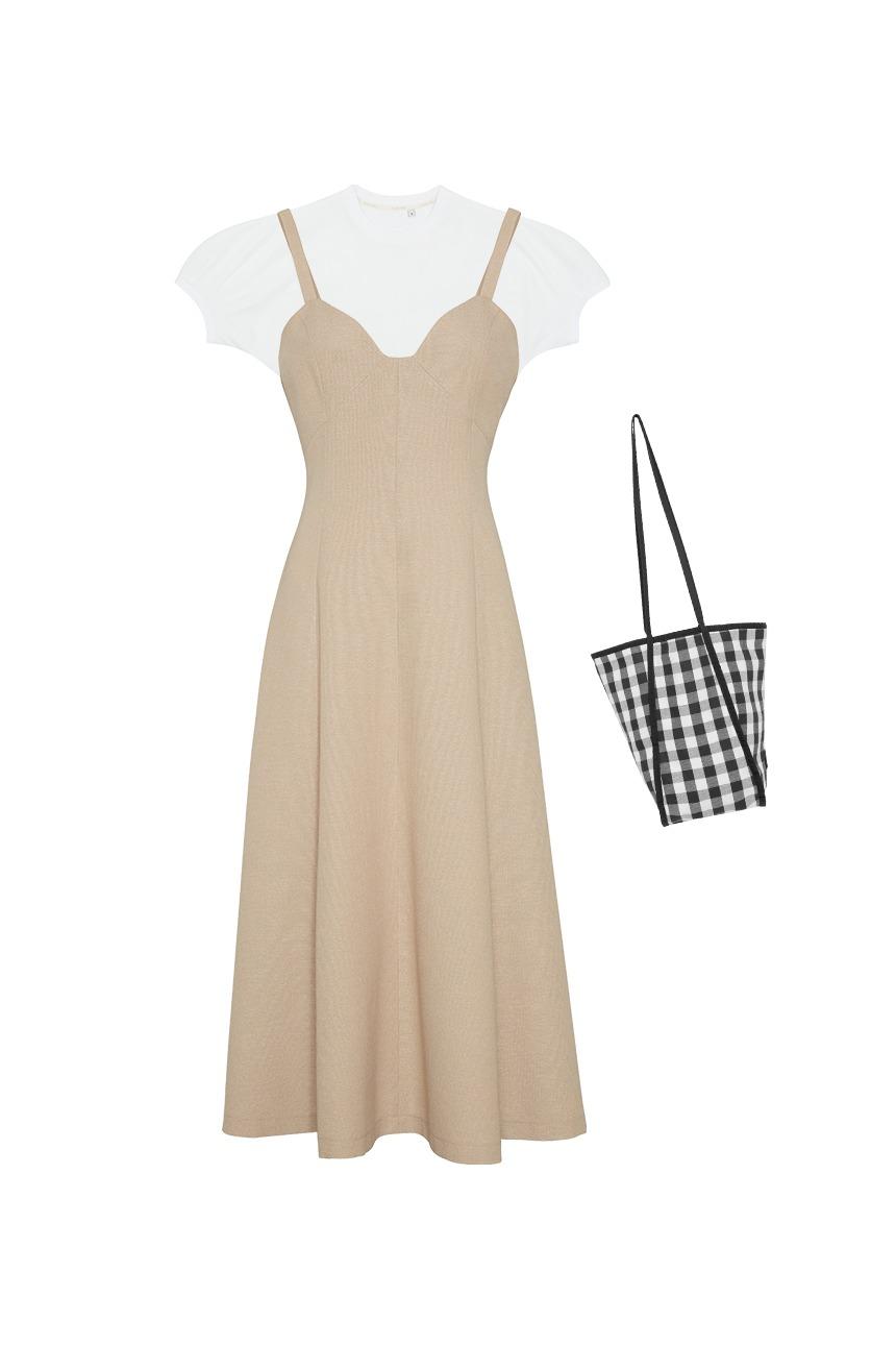 [박신혜착용][SET] DARANGSWI Tube top dress (Beige) + PANPO T-shirt (White) + ITAEWON bag (Black gingham) (증정)