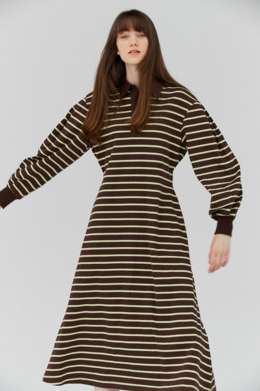 HARI PORT Collar maxi stripe dress (Brown&Lime)
