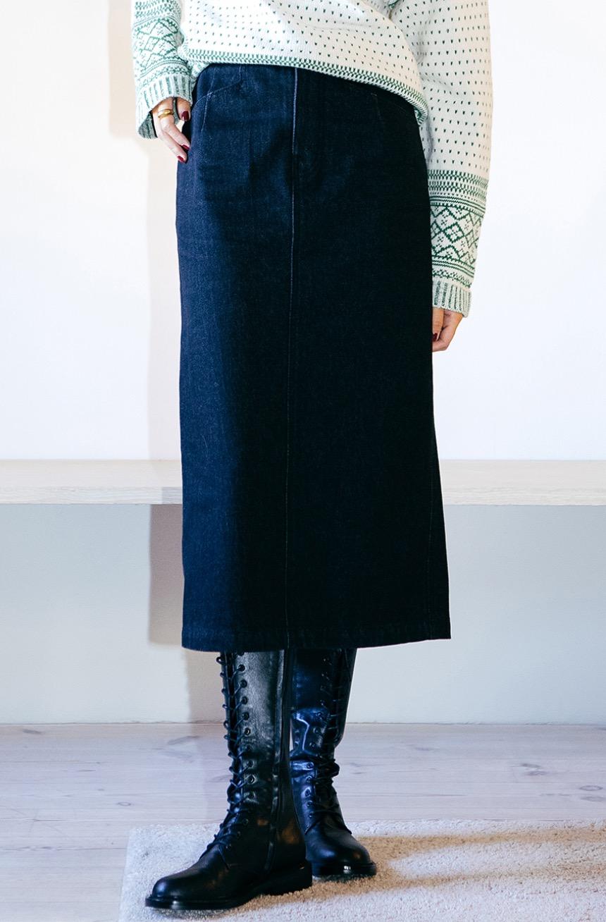 MATTERHORN H-line denim skirt (Black)