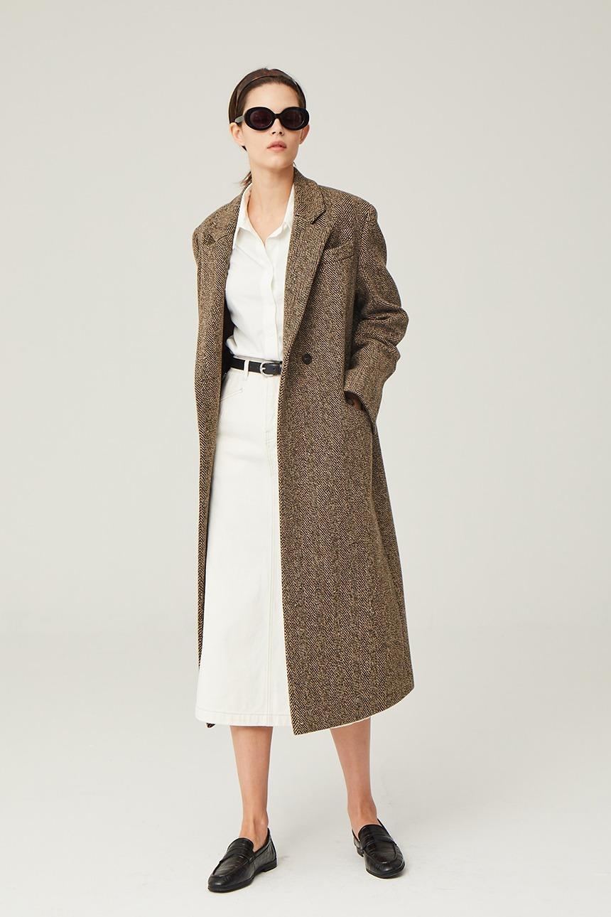 [10/28 예약배송]COPENHAGEN H-line maxi coat (Brown herringbone)