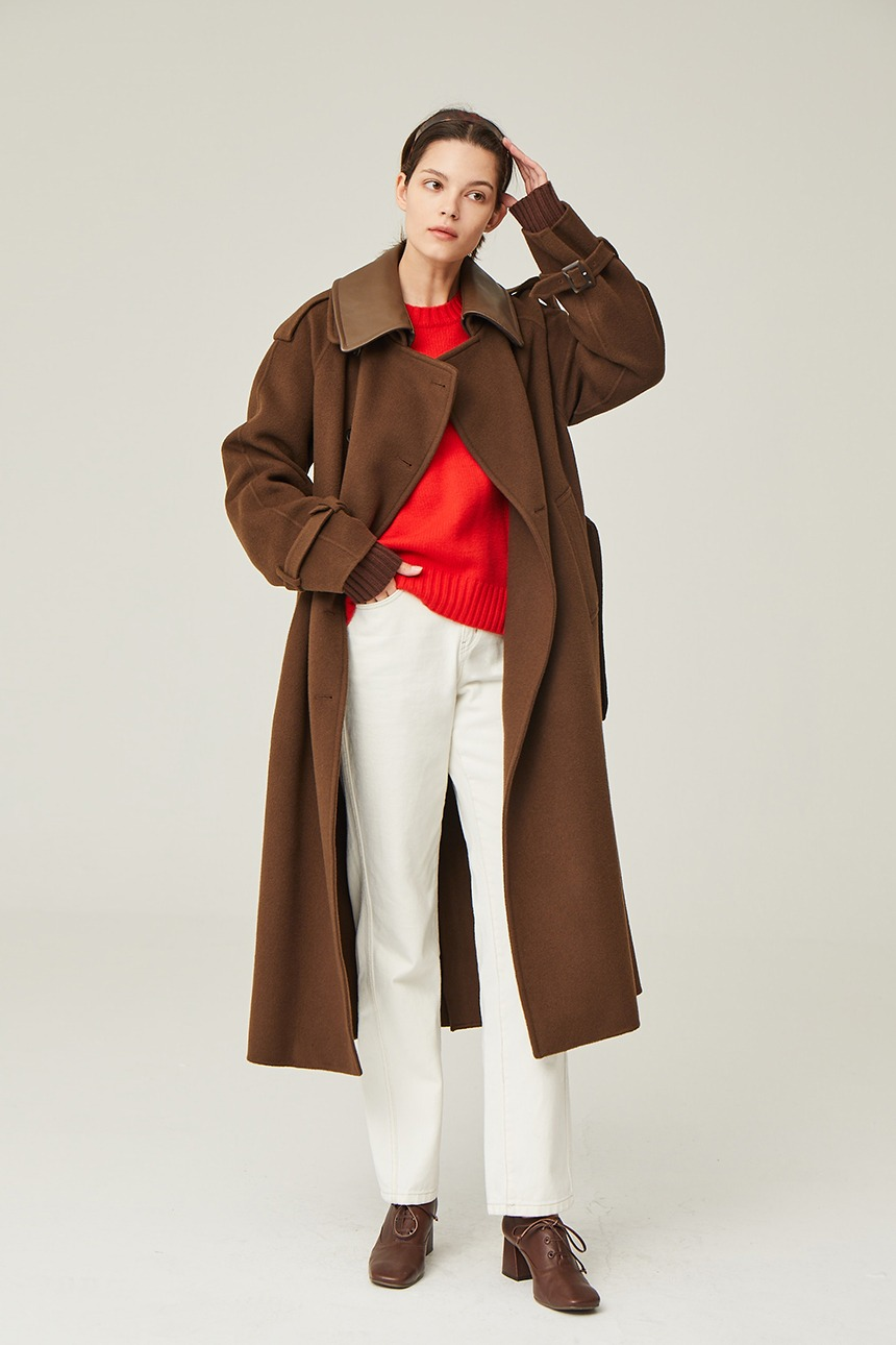 HELSINGOR Cashmere blended double breasted trench coat (Choco brown)