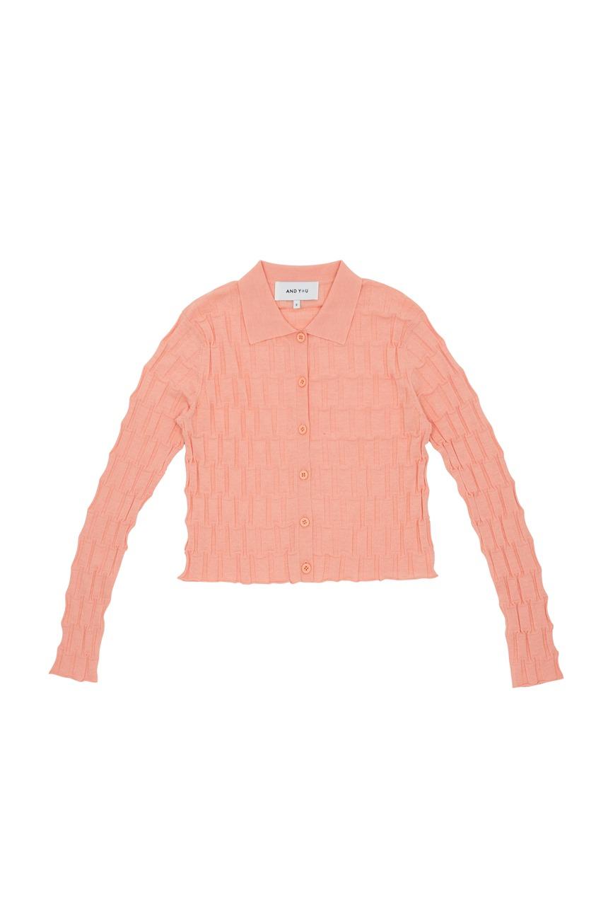 MAGNOLIA Irregular ribbed pattern cardigan (Peach)