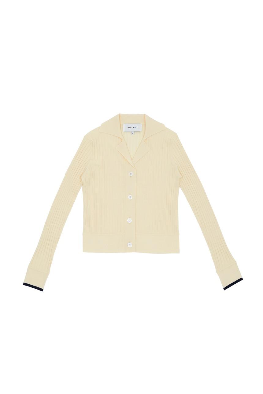 [정은채착용]LOTUS Ribbed notched collar cardigan (Ivory)