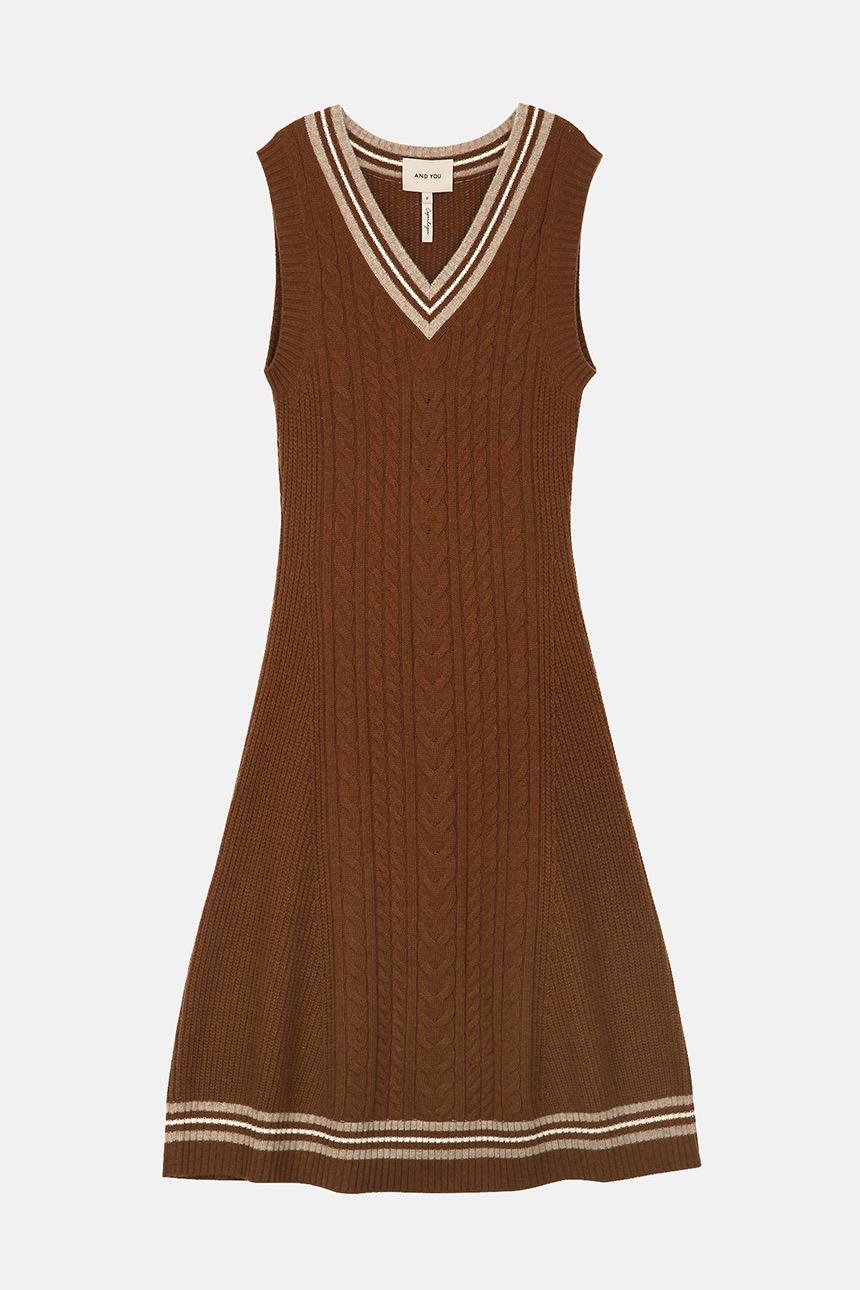 [사은품증정][10/28 예약배송][김나영착용]JOY Sleeveless v-neck knit dress (Camel brown)
