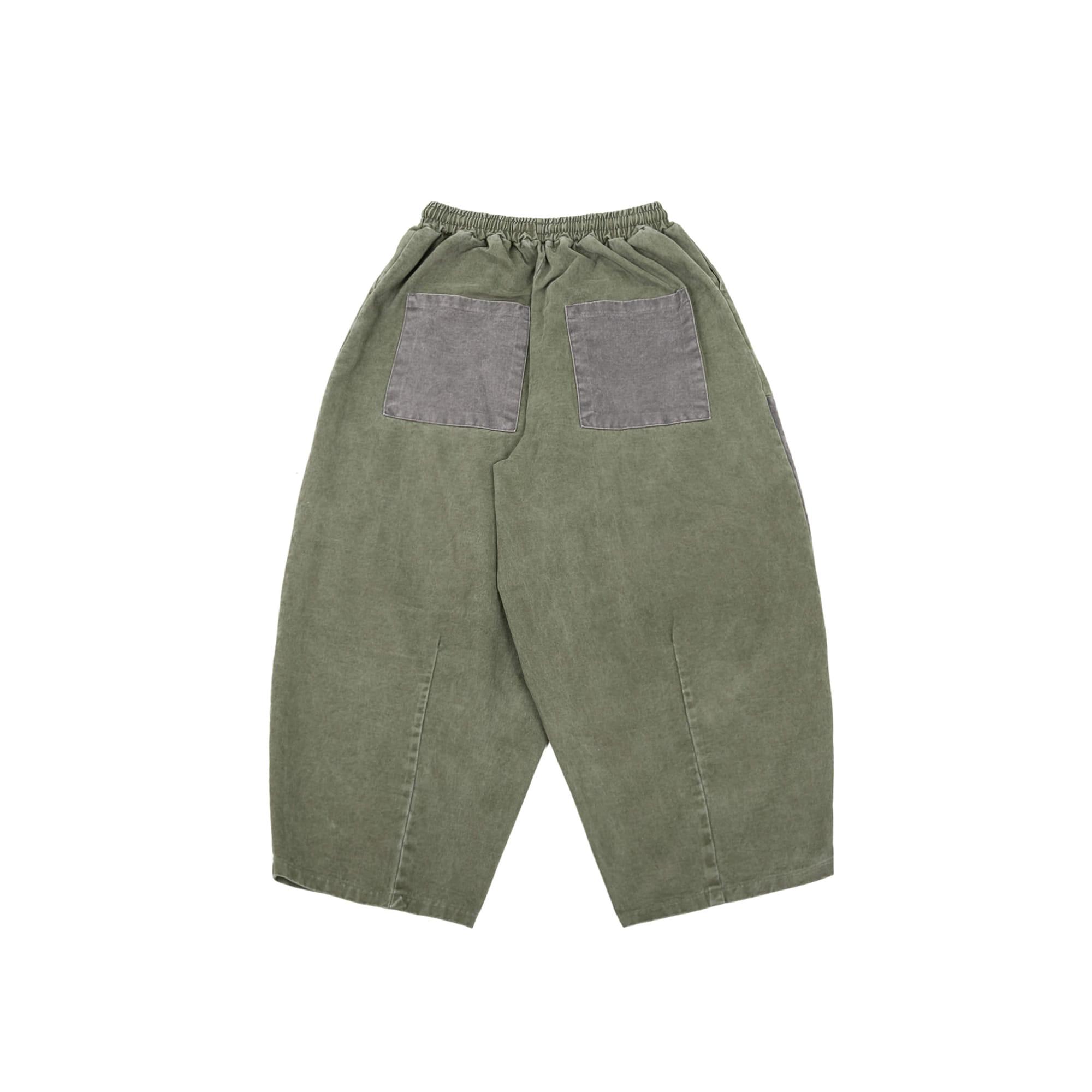 Two Color PatchWork Balloon Pants - Khaki