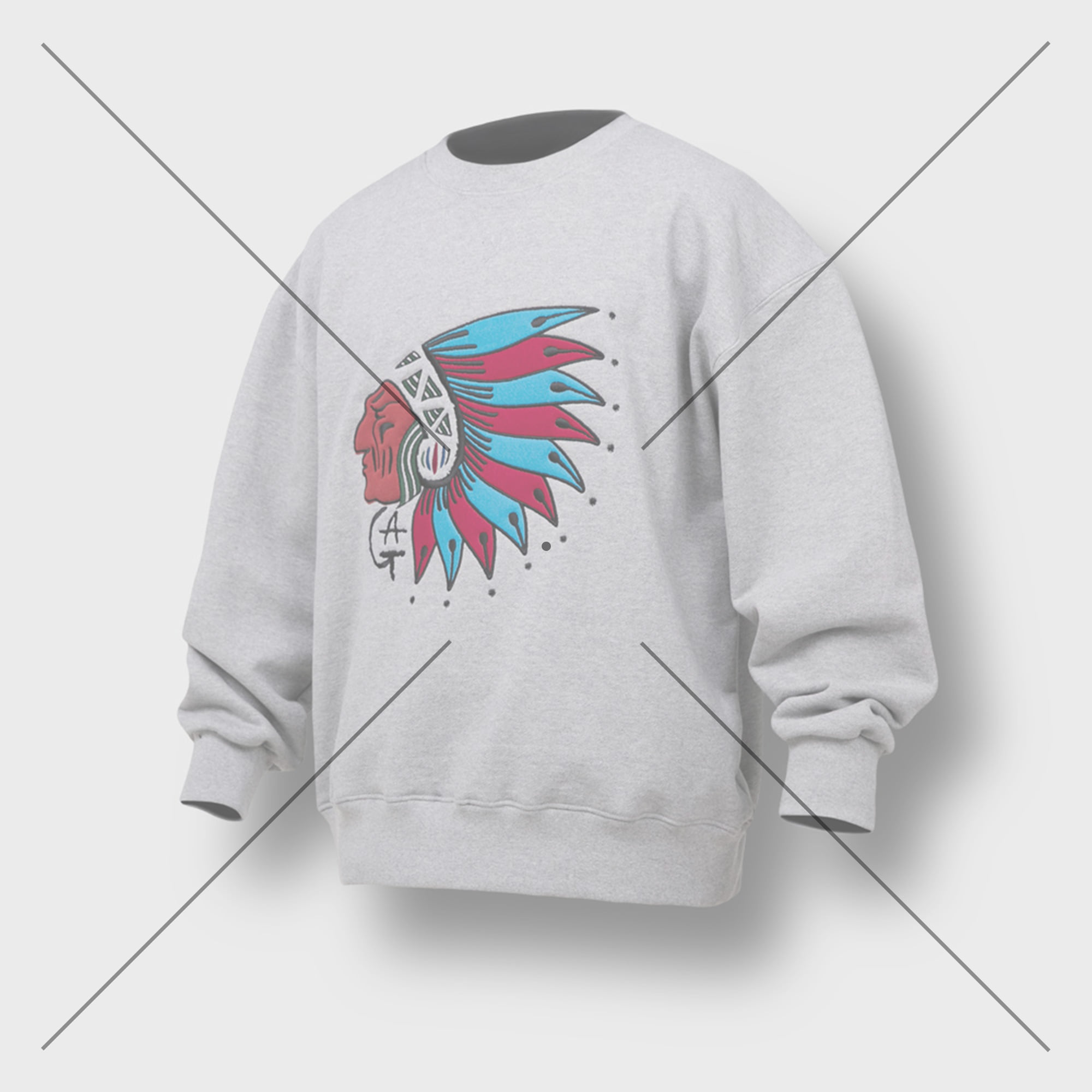 [AG] Native American Embroidery Sweat Shirt - Grey