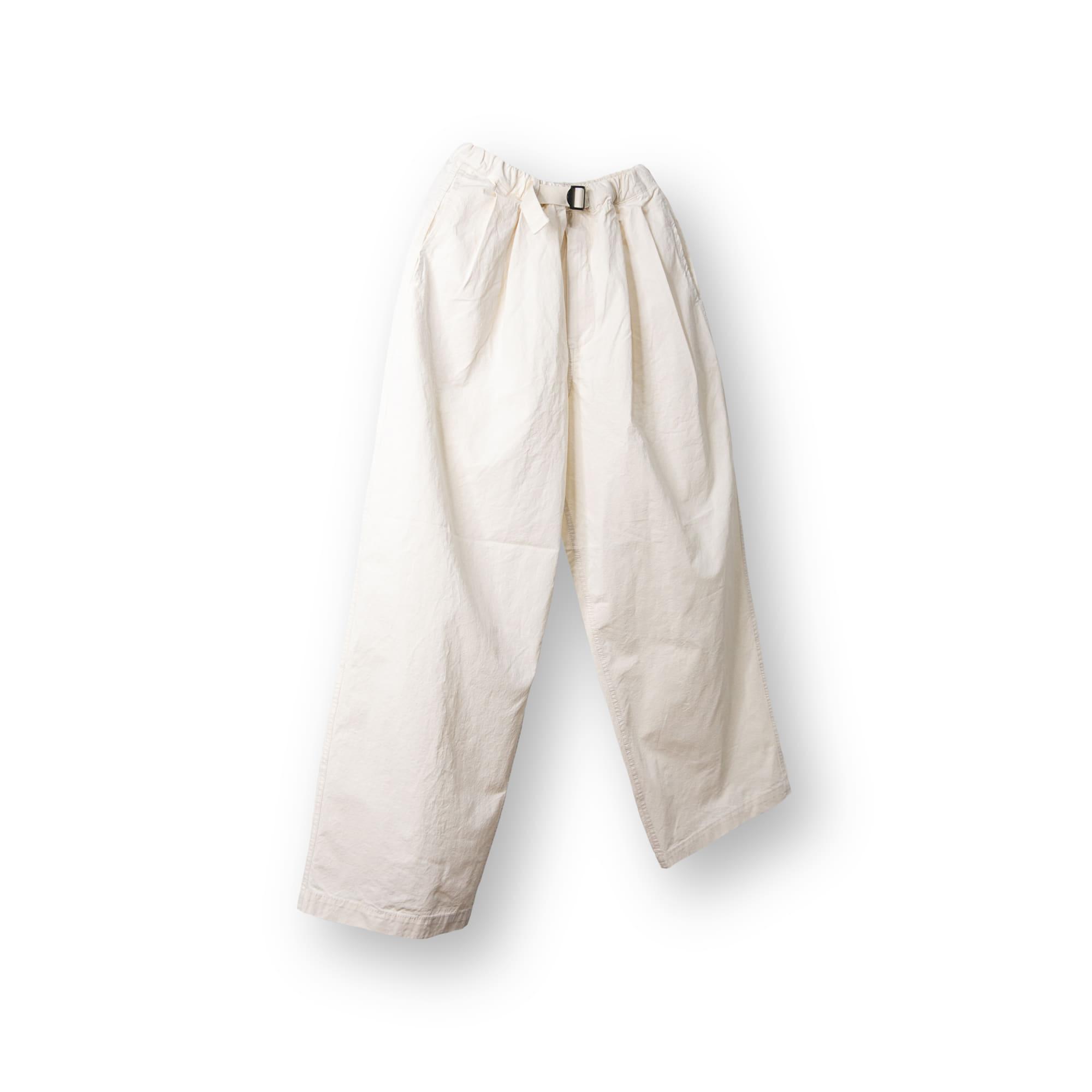 Belt Pin-Tuck Wide Pants - Ivory