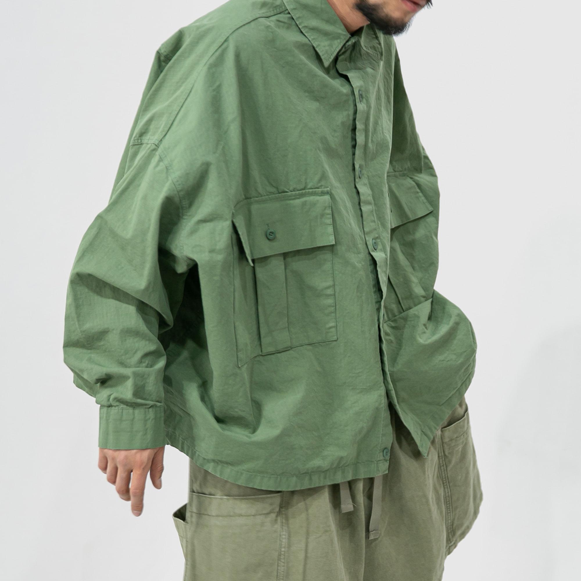 Rib Army Cargo Over Shirt - Khaki