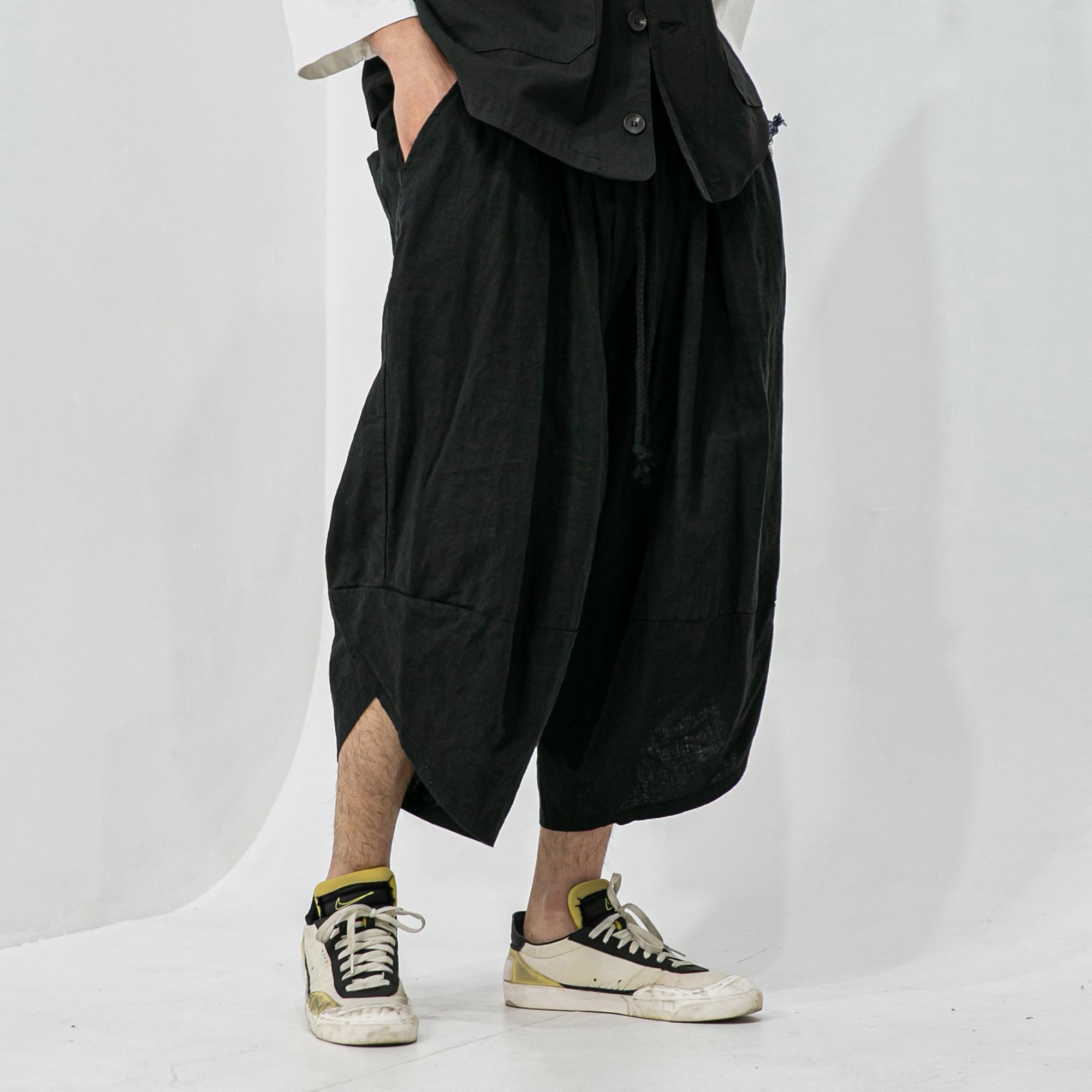 Linen Oblique Loose Pants - Black