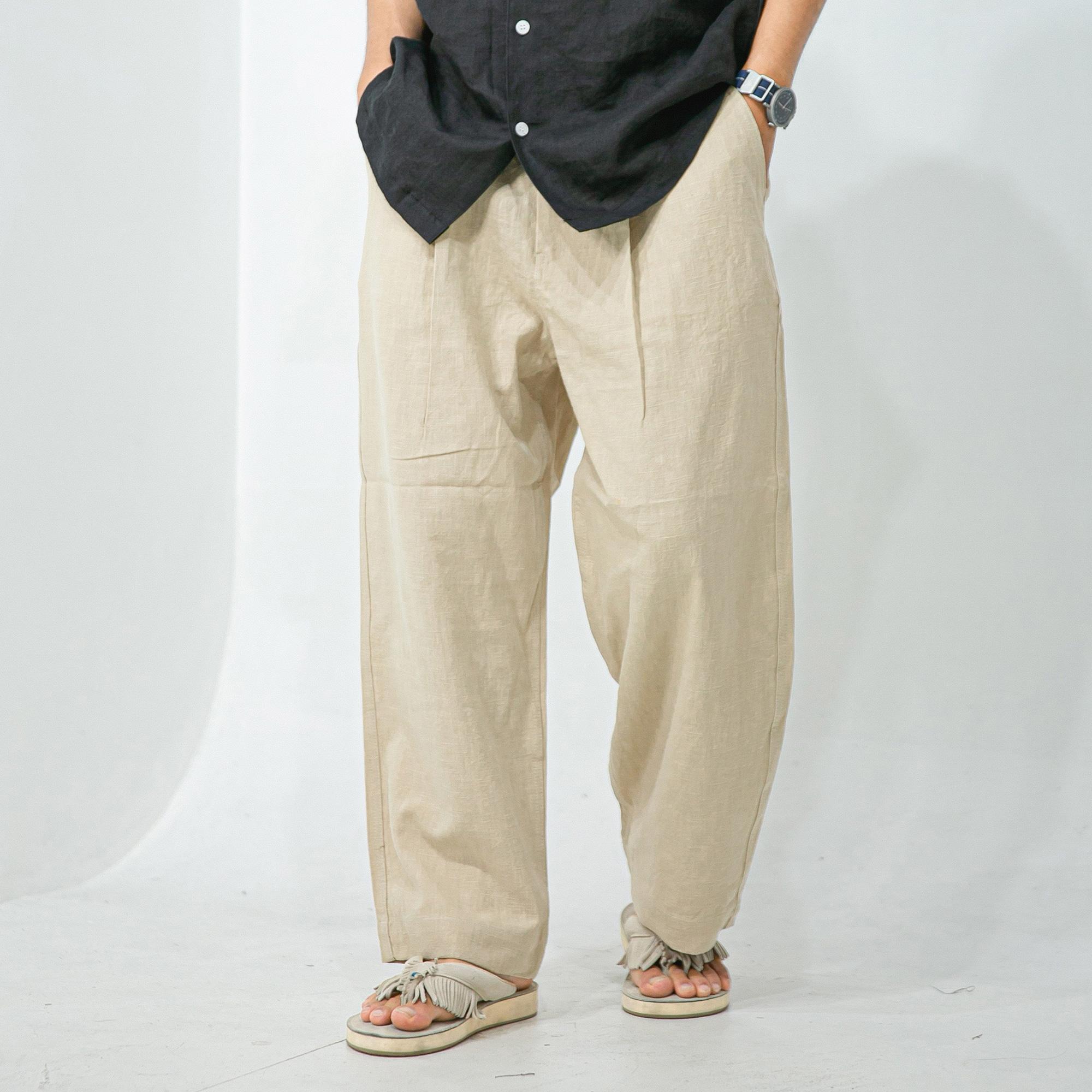 Linen Wide Pants - Beige