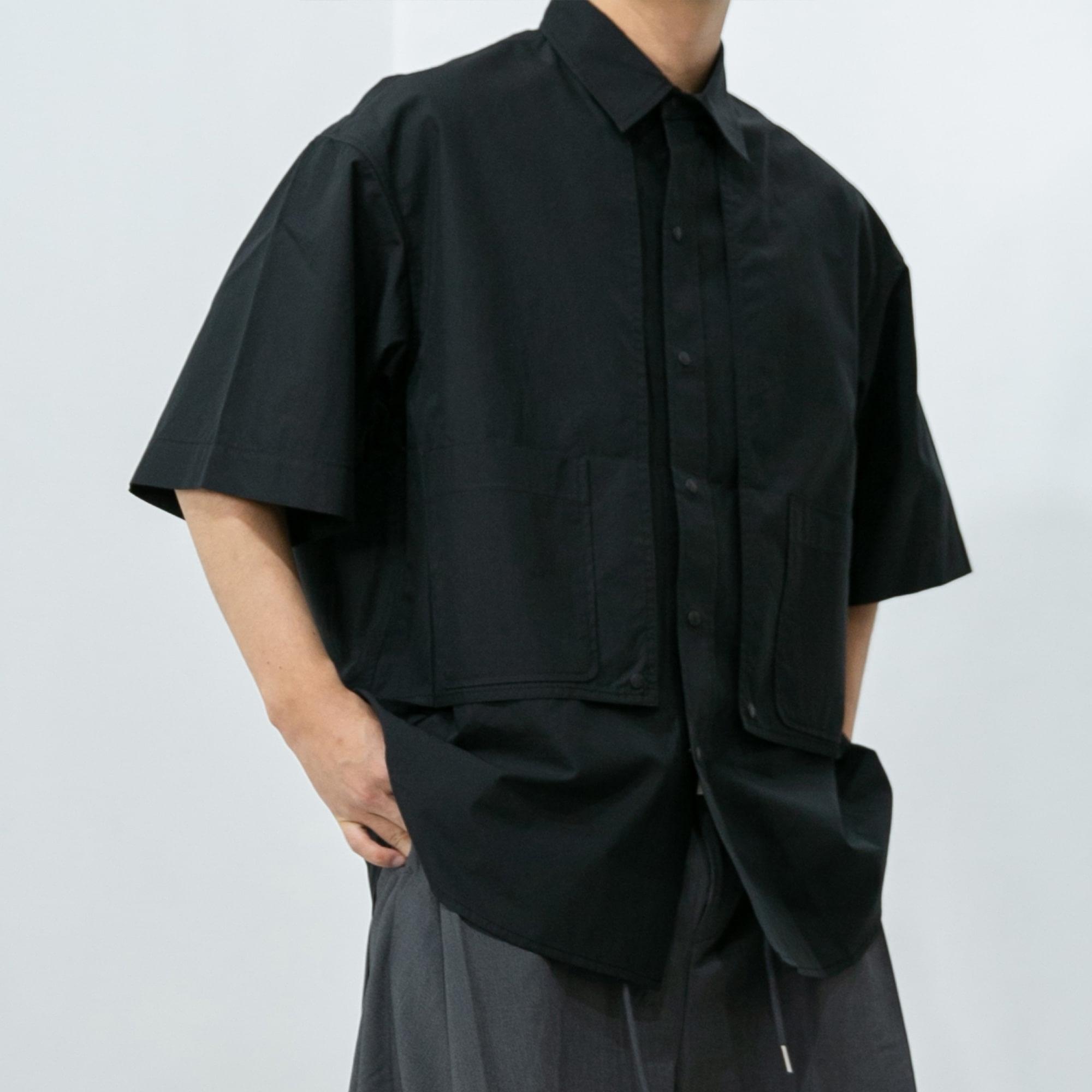 Wing Double Pocket Shirt - Black