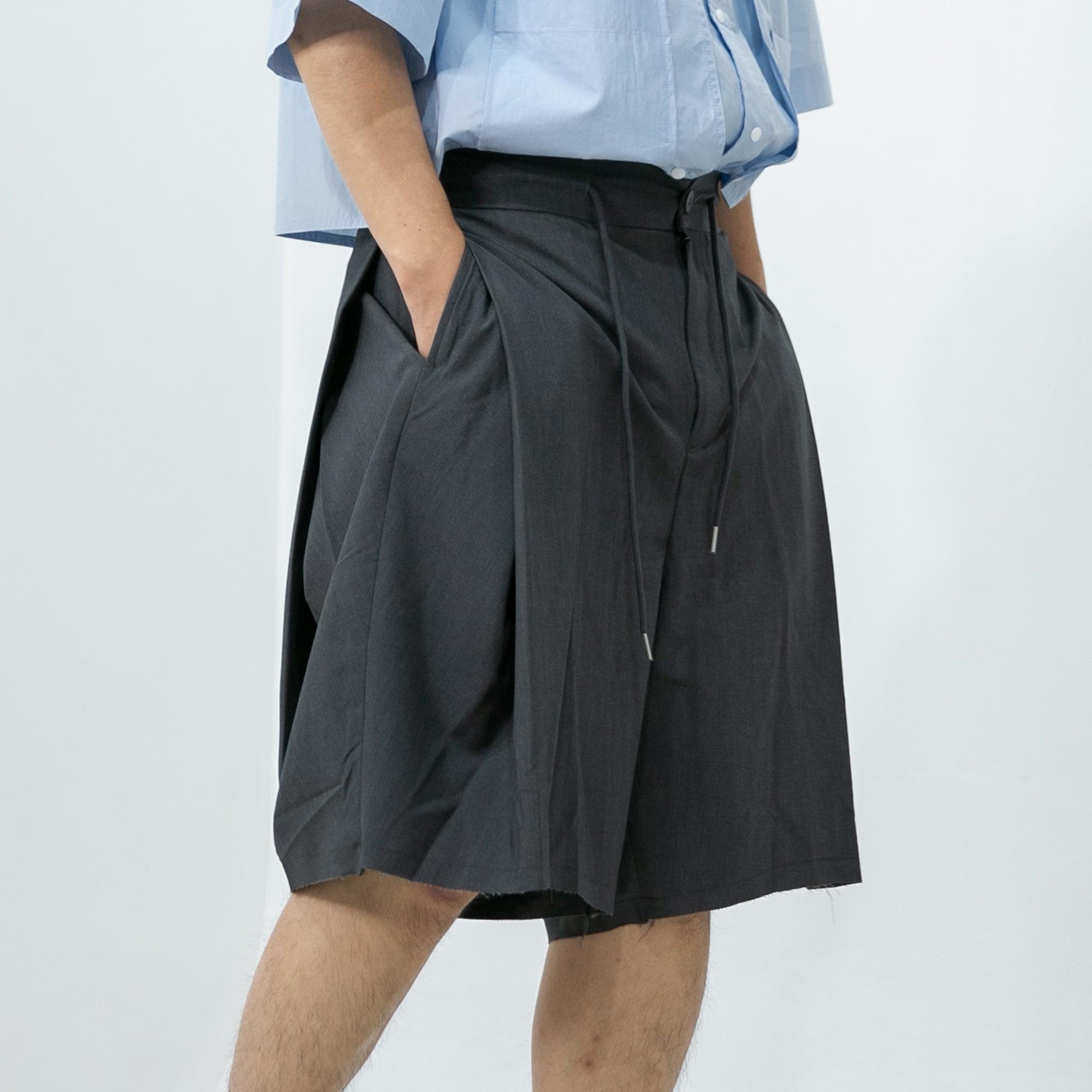 Oblique Skirt Half Pants - Grey