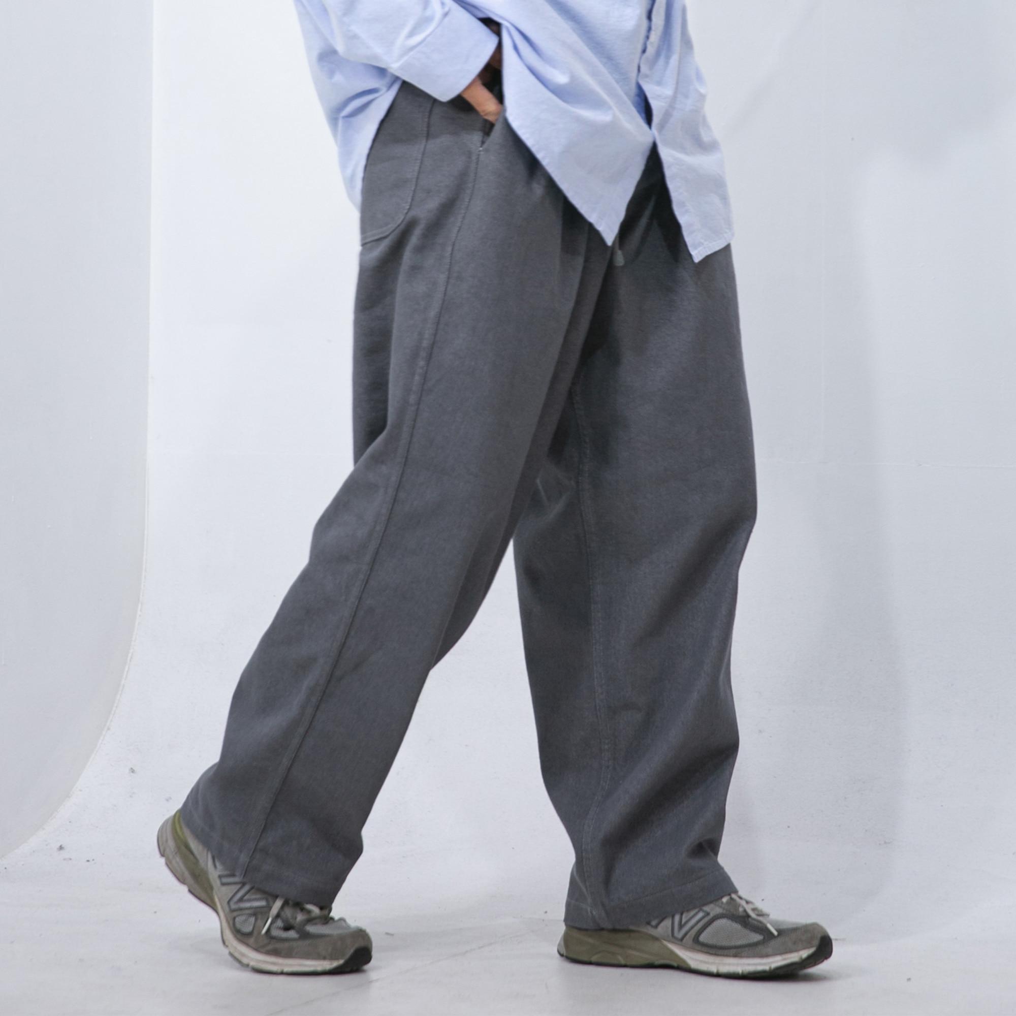 Belt Pin-Tuck Wide Denim Pants - Grey