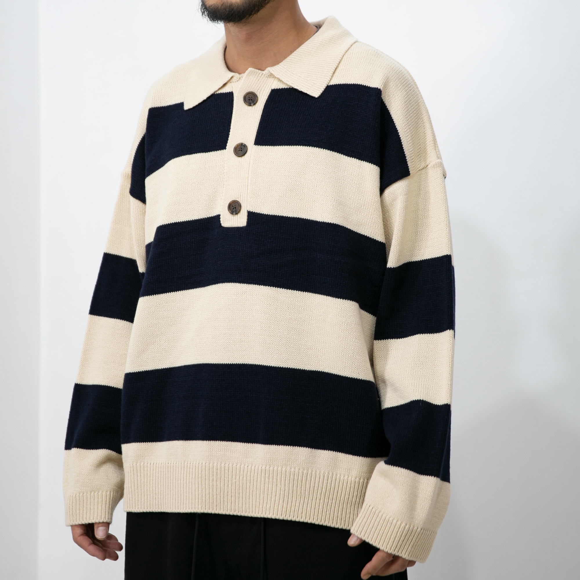 Lay Stripe PK Knit - Navy
