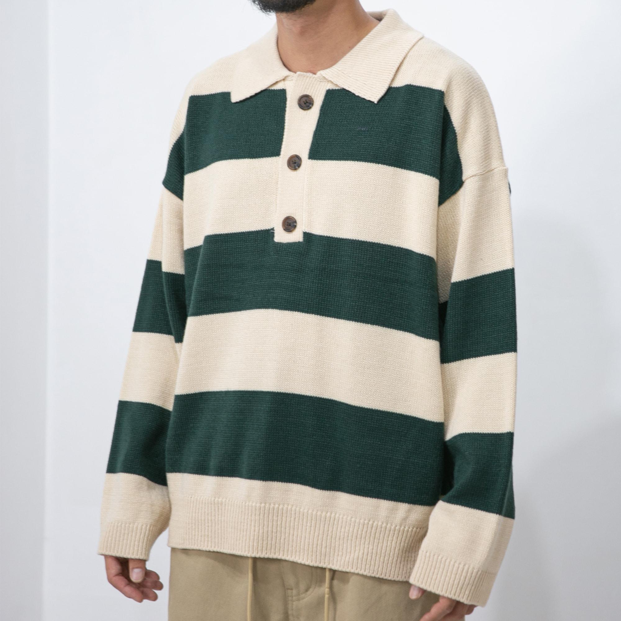 Lay Stripe PK Knit - Green