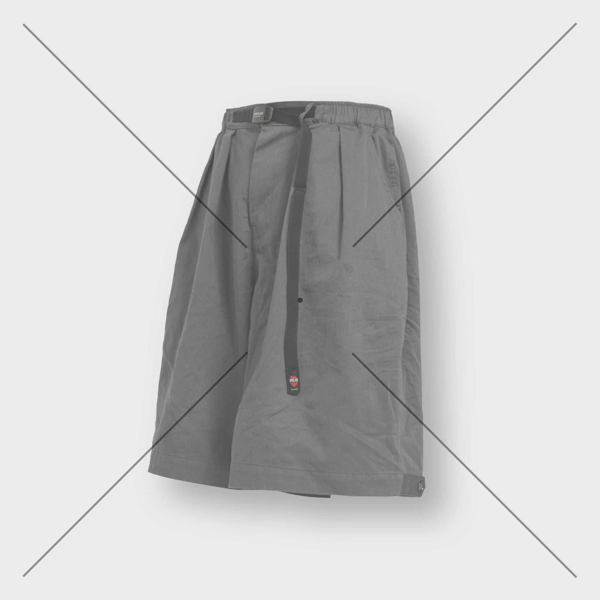 [AG] Belt Wide Vijo Half Pants - Grey