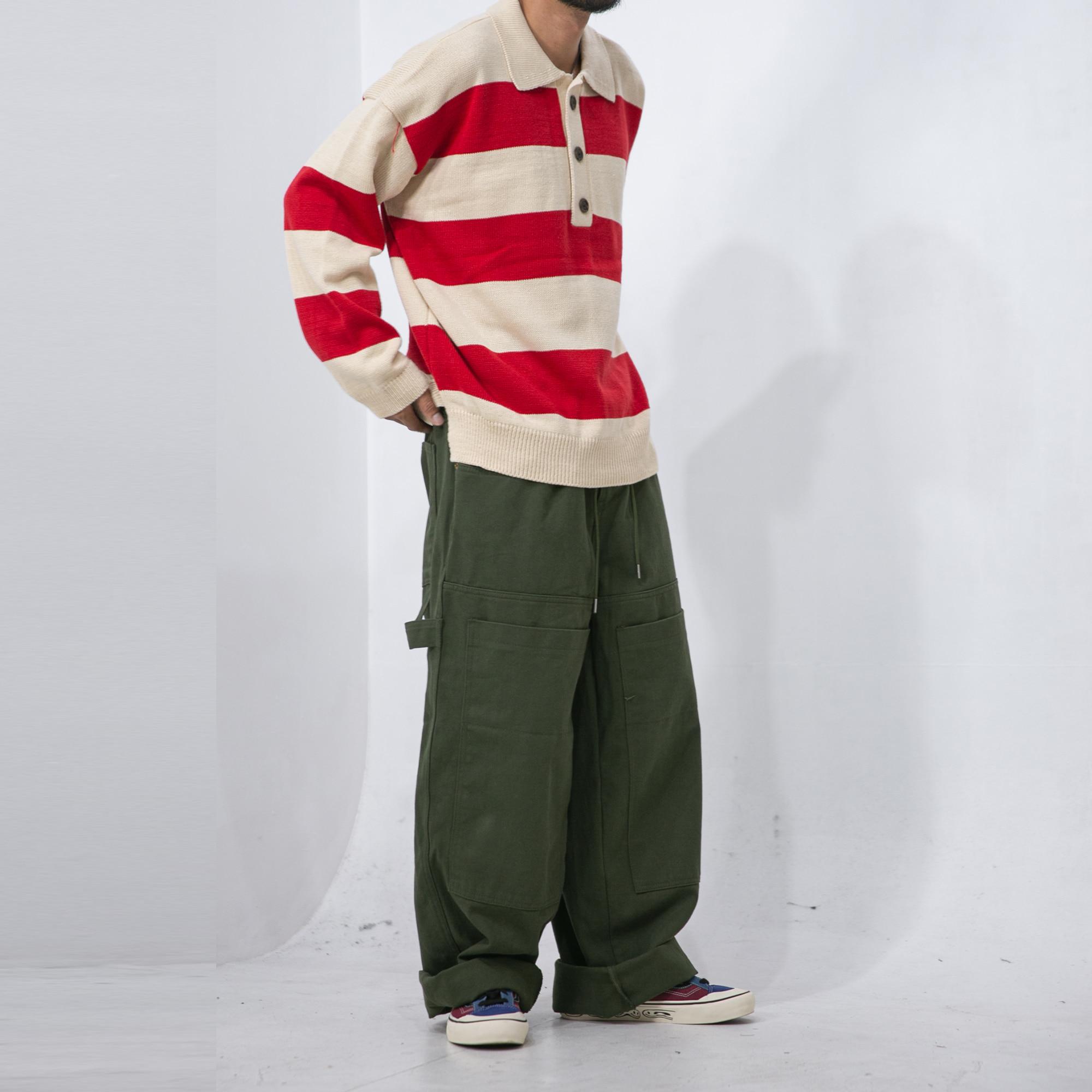 Cotton Wide Painter Work Pants - Khaki