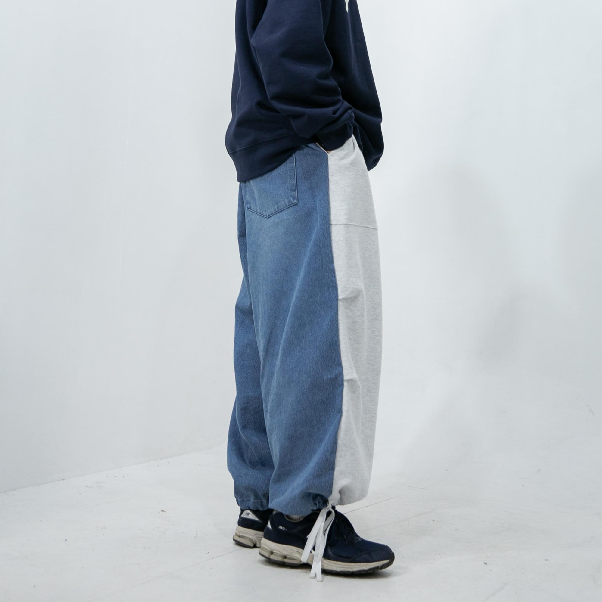 Sweat Twist Denim Wide String Pants - Light Blue