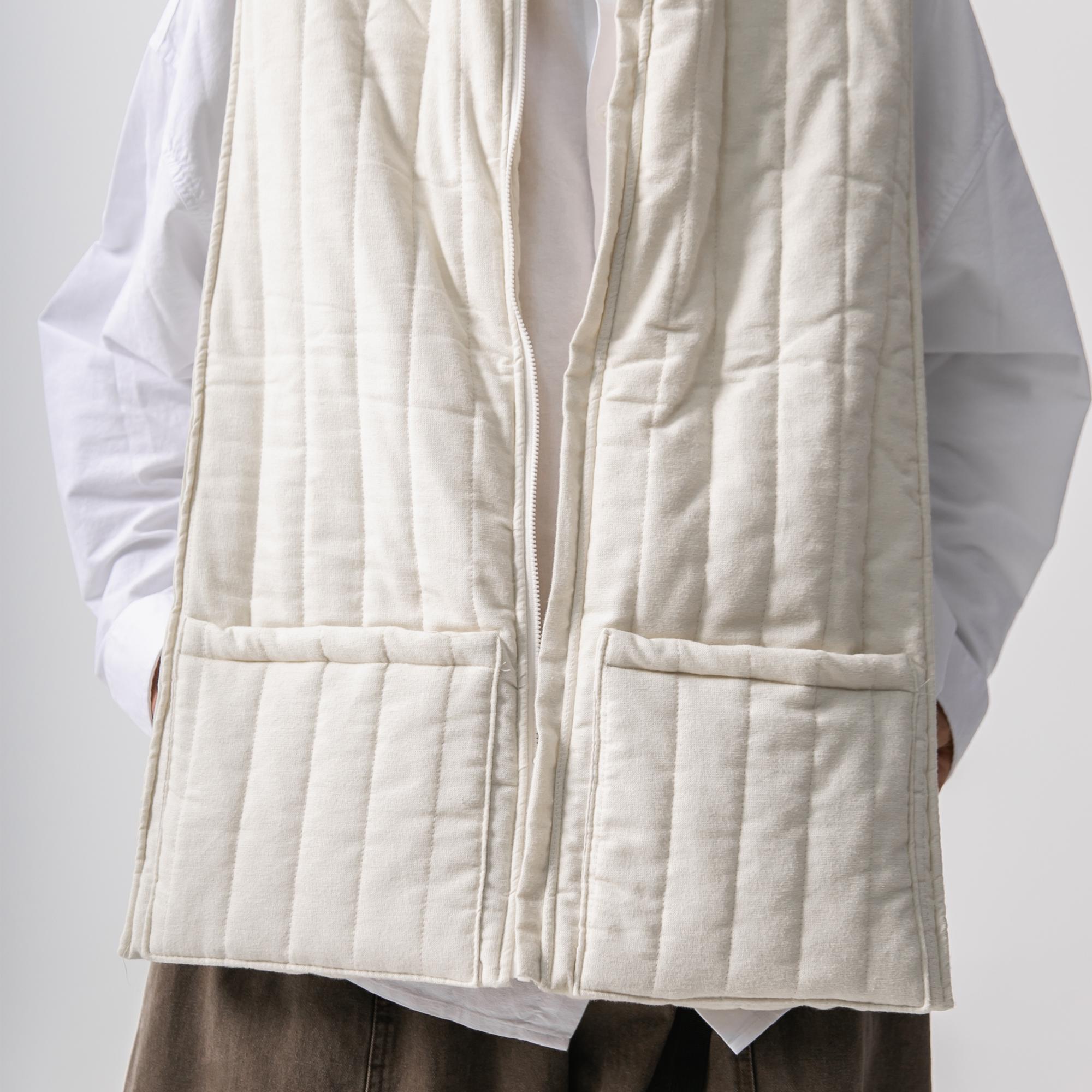 Opening Robe Padding Vest - Ivory